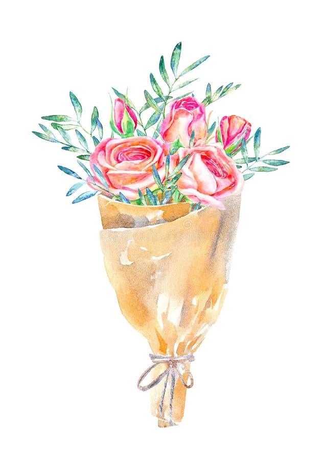 Blom- krans Pistaschfilial-, ros- och kraft papperspacke vektor illustrationer