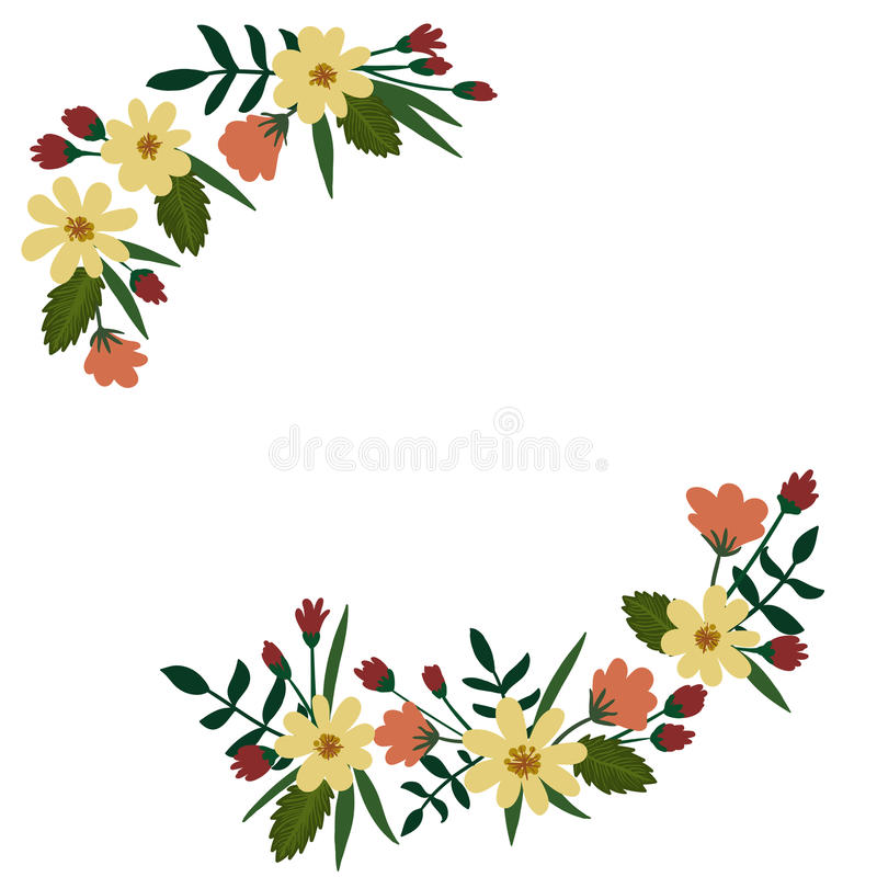 Blom- krans som isoleras på vit bakgrund den extra redigerbara blom- formatramen för eps inkluderade vektorn stock illustrationer