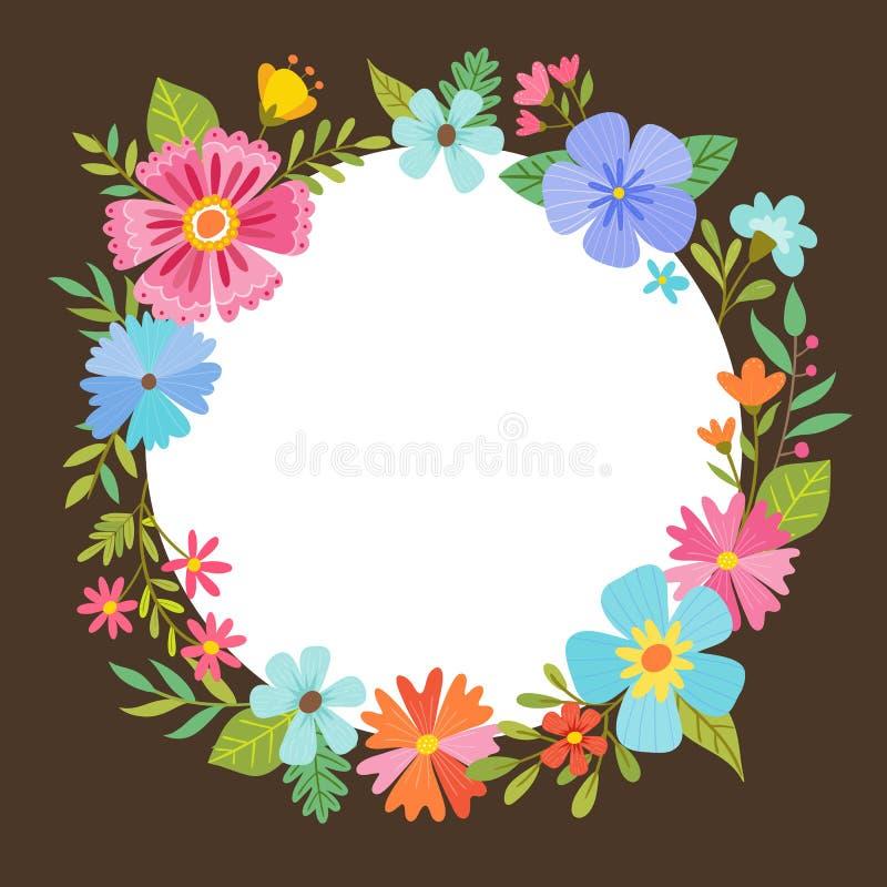 Blom- kransdesign för färgrik härlig vår stock illustrationer