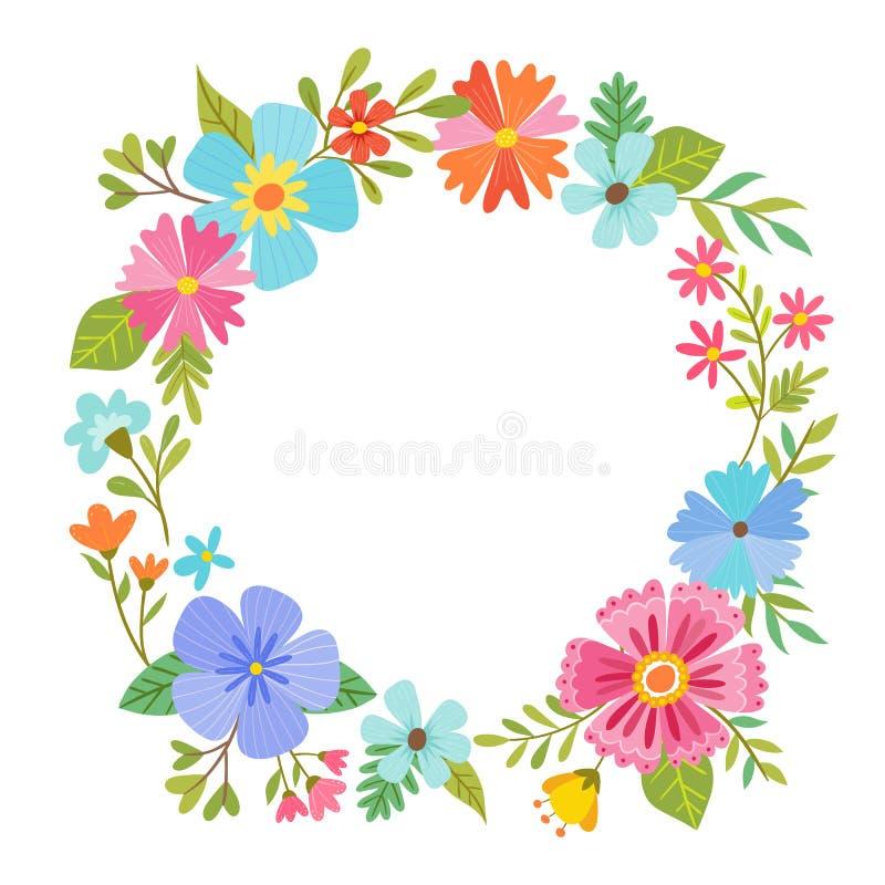 Blom- kransdesign för färgrik vår stock illustrationer