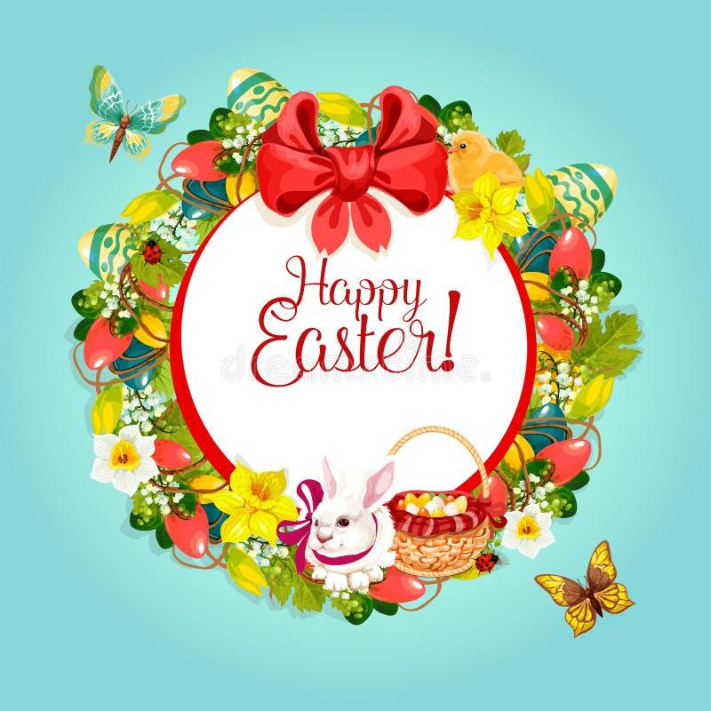 Blom- kransram för påsk för festlig kortdesign stock illustrationer