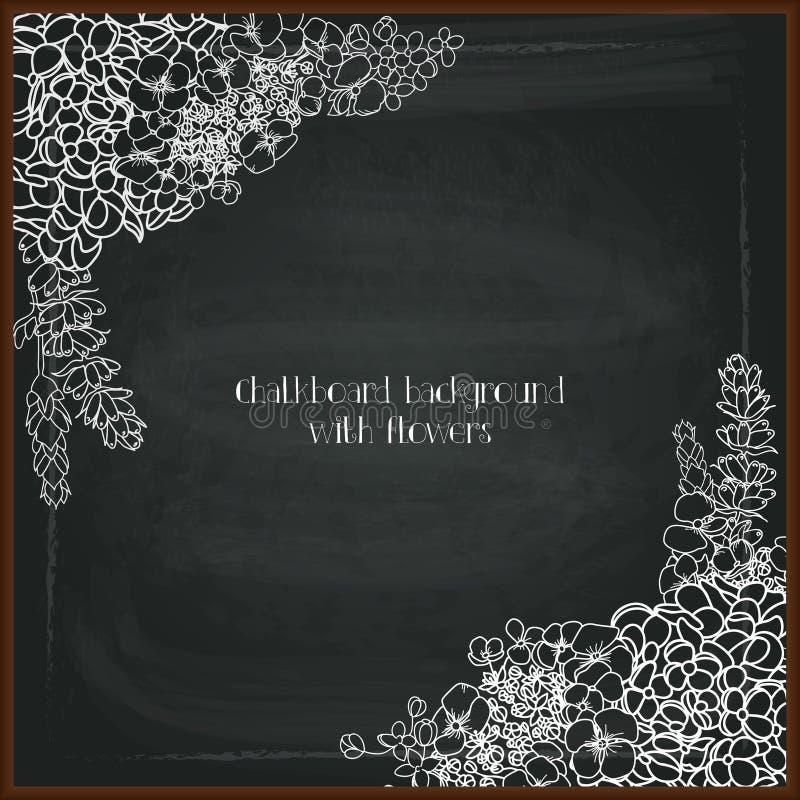 Blom- kritateckning på svart tavla stock illustrationer