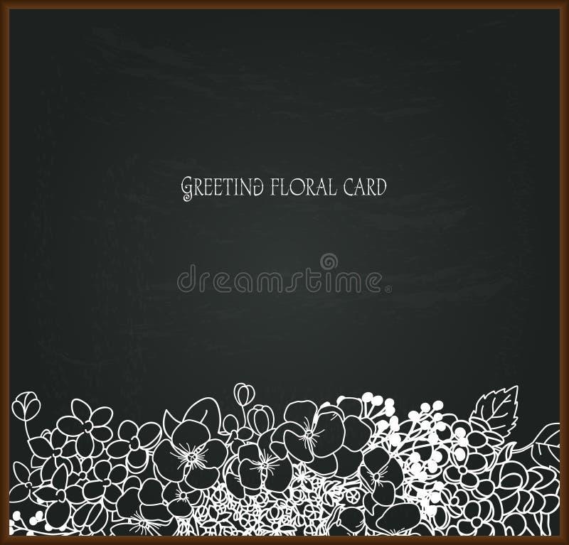 Blom- kritateckning på svart tavla vektor illustrationer