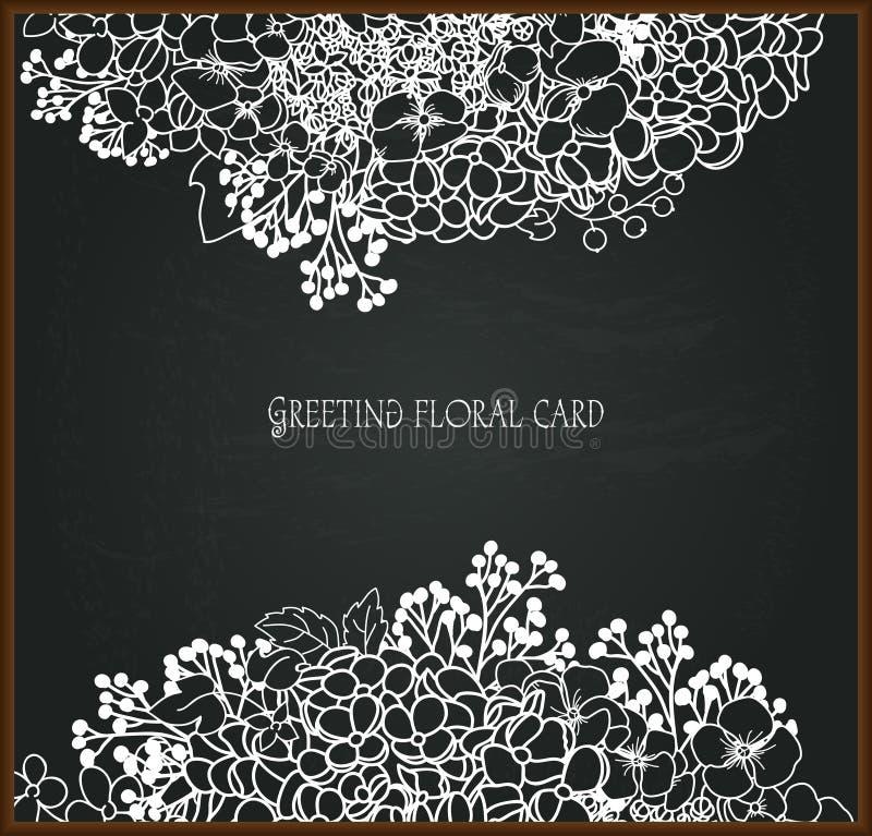 Blom- kritateckning på svart tavla royaltyfri illustrationer