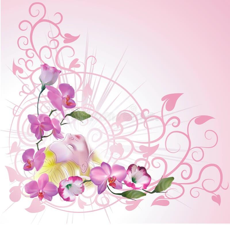 blom- kvinna för bakgrund stock illustrationer