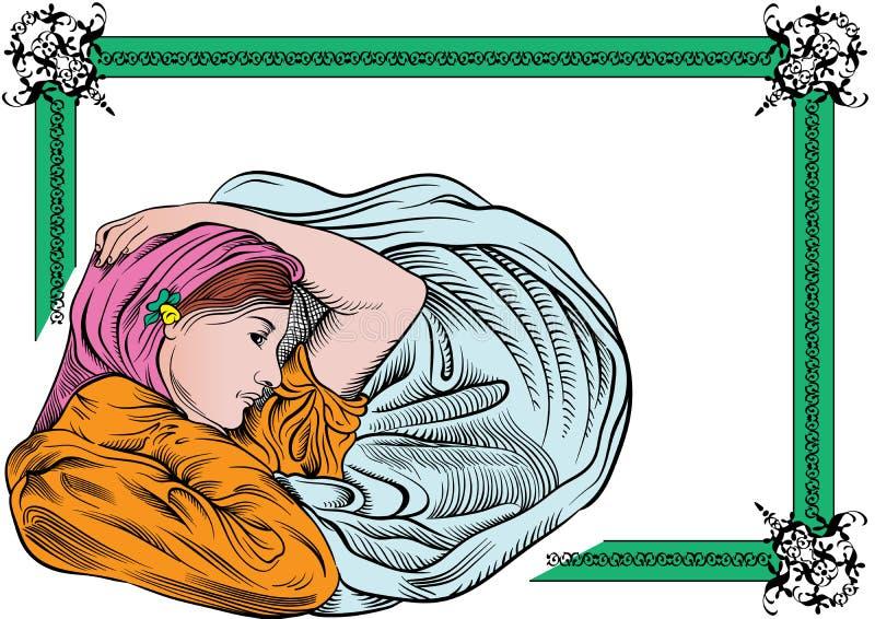 blom- kvinna för kant royaltyfri illustrationer
