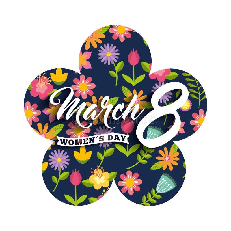 Blom- kvinnors för kort för etikettblommagarnering marsch 8 för dag stock illustrationer