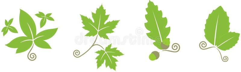 blom- leaves stock illustrationer