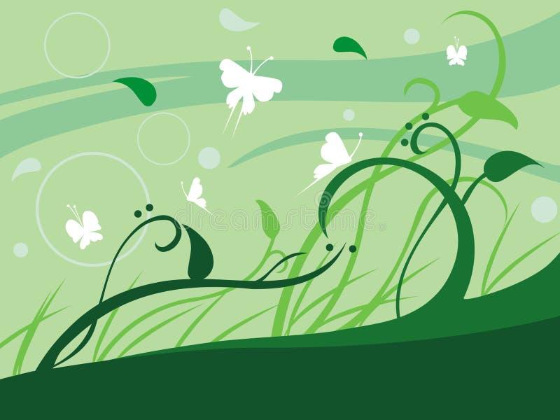 blom- leaves royaltyfri illustrationer