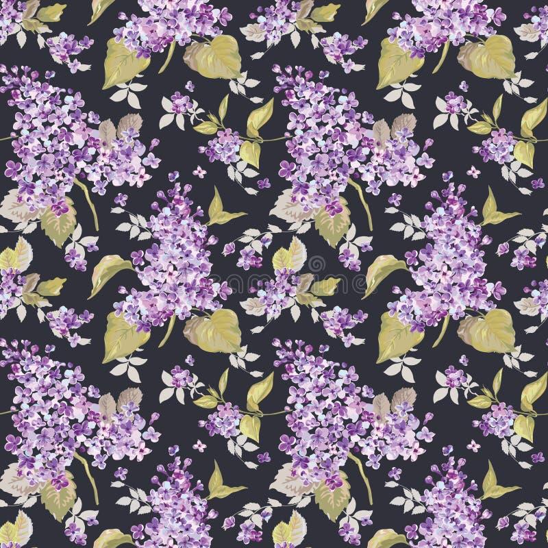 Blom- lila bakgrund för tappning stock illustrationer