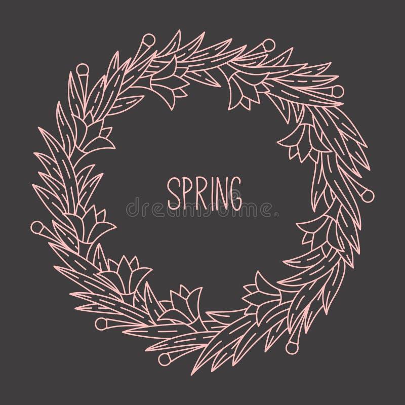 Blom- linje vektor för blommor för klotterrundaram royaltyfri illustrationer