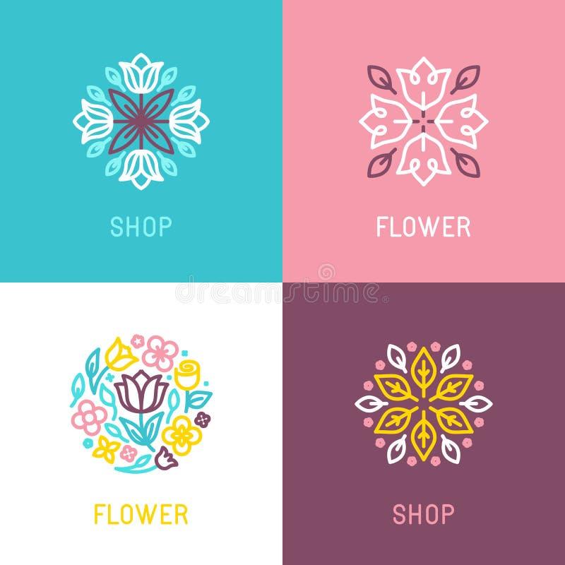 Blom- logodesignbeståndsdel royaltyfri illustrationer