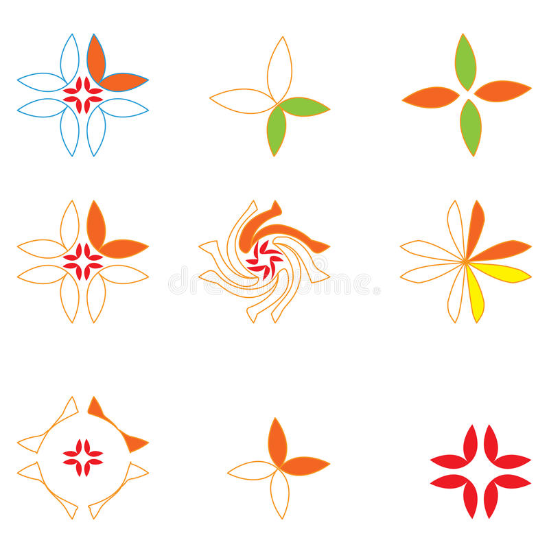 blom- logoer vektor illustrationer
