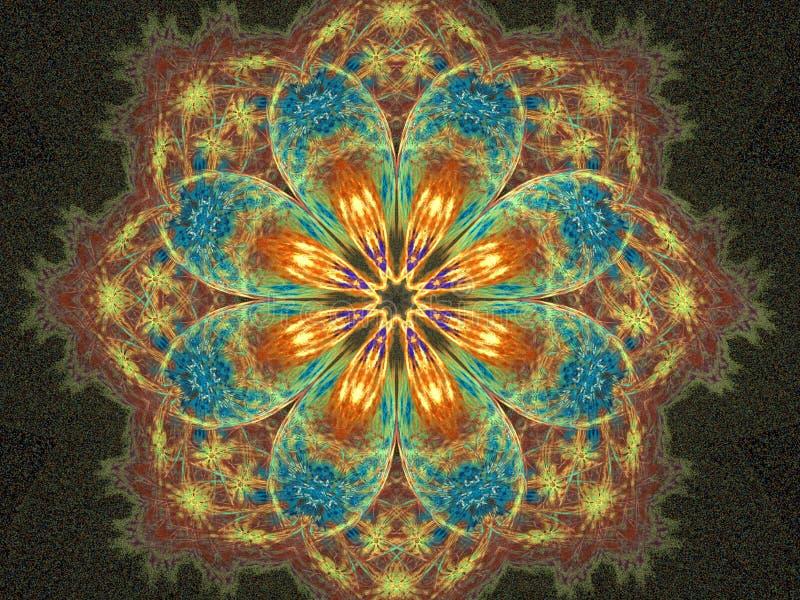 blom- lycklig mandala royaltyfri illustrationer