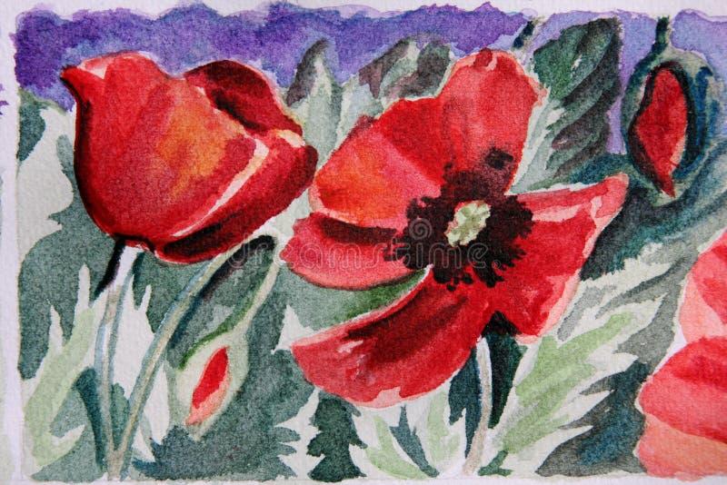 blom- målad vattenfärg royaltyfri bild