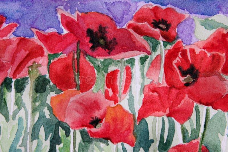 blom- målad vattenfärg arkivbild