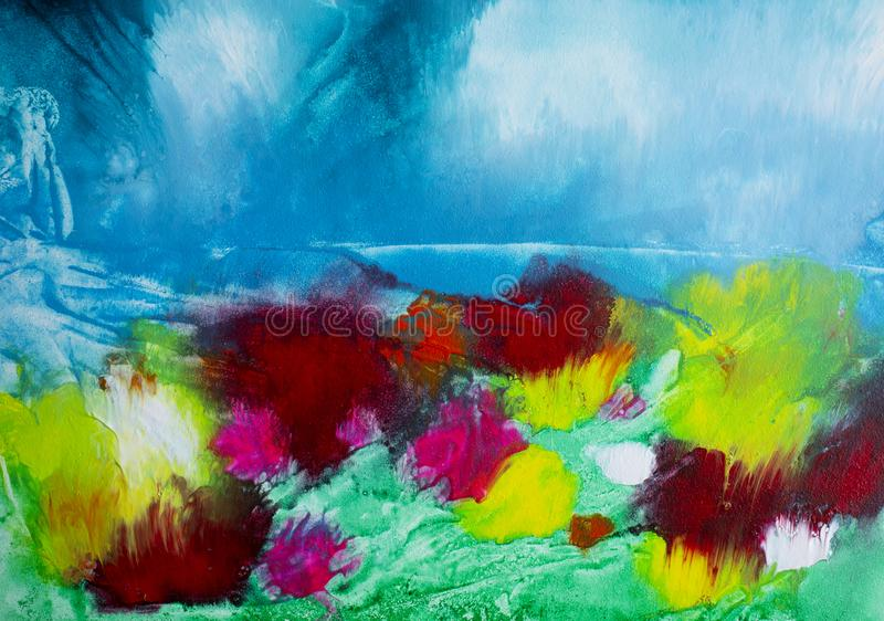 Blom- målning för abstrakta moderna samtida konstvildblommor för akryl royaltyfri bild