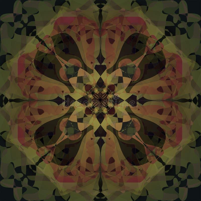 Blom- mandala Art d?costil ABSTRAKT BAKGRUND I GRÄSPLAN OCH BRUNT CENTRAL BLOMMA I ORANGE, RÖTT, GULT OCH BRUNT arkivbild