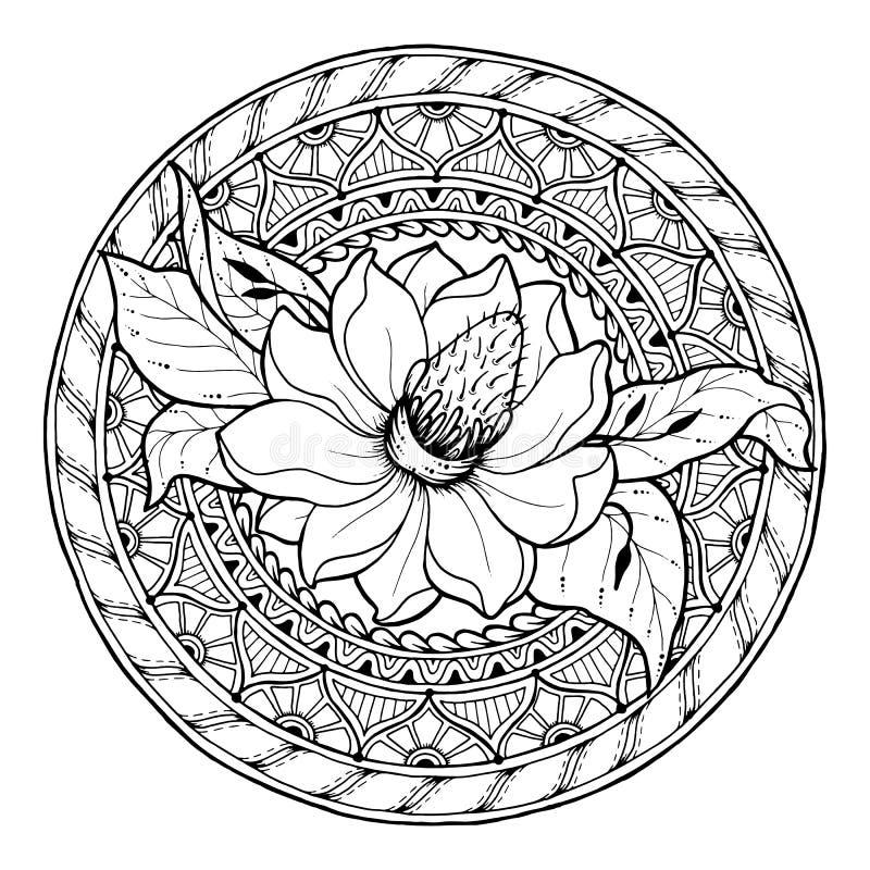 Blom- mandala för cirkelsommarklotter royaltyfri illustrationer