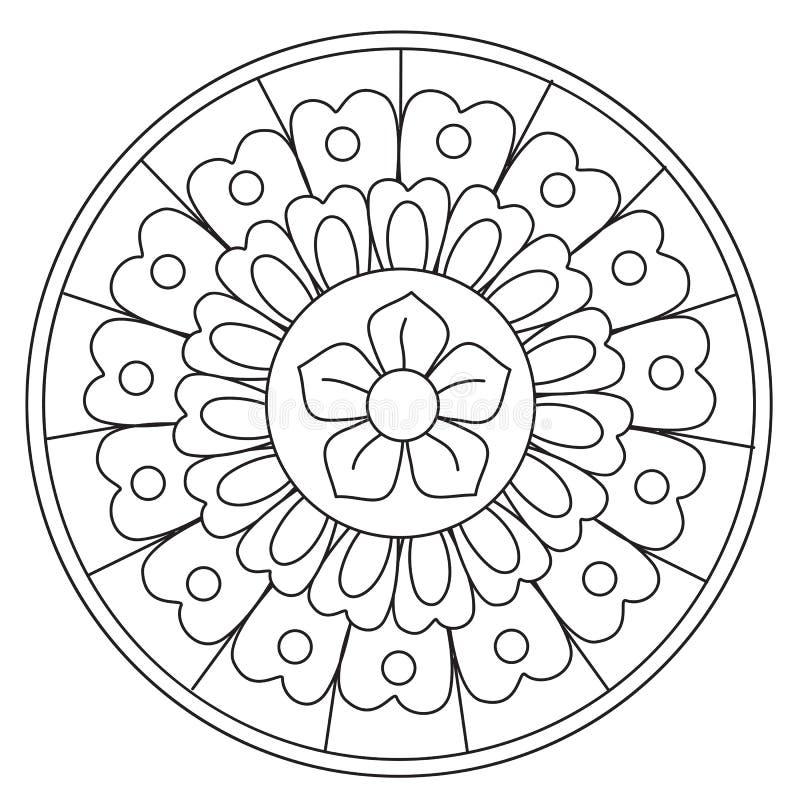 Blom- Mandala för färgläggningskönhet royaltyfri illustrationer