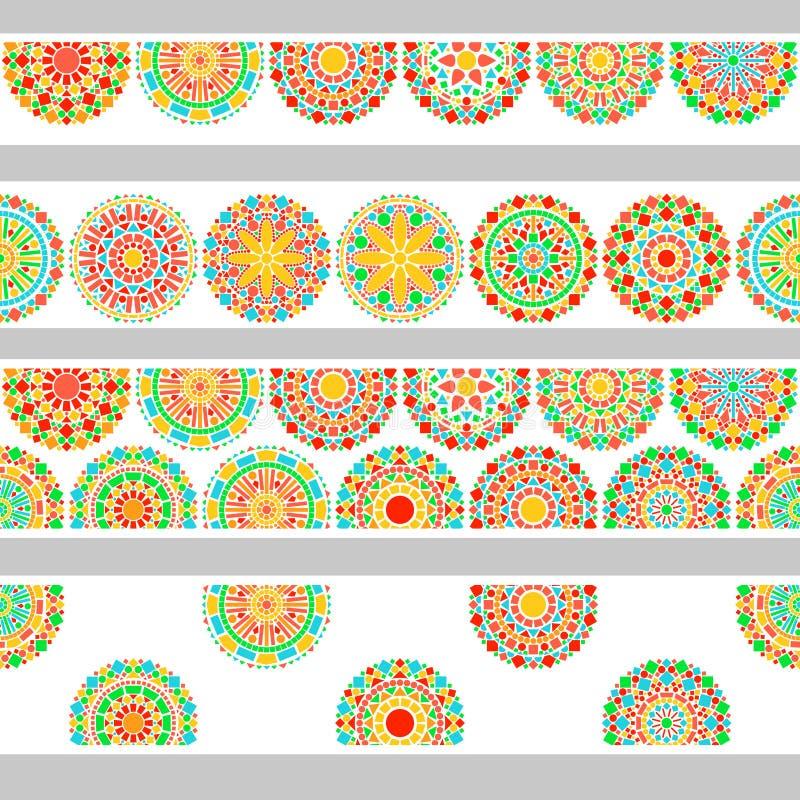 Blom- mandala för färgrika cirklar i gräsplan och apelsin på den vita sömlösa gränsen, vektor stock illustrationer