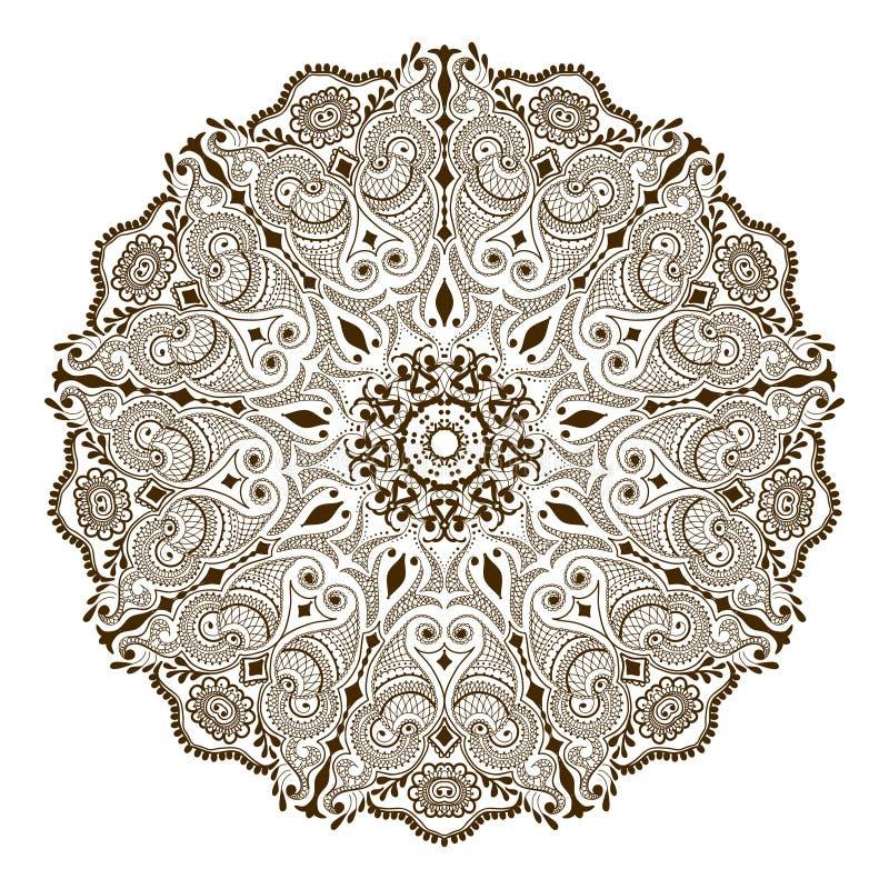 Blom- mandala för vektor i indisk stil Mehndi dekorativ blomma vektor illustrationer