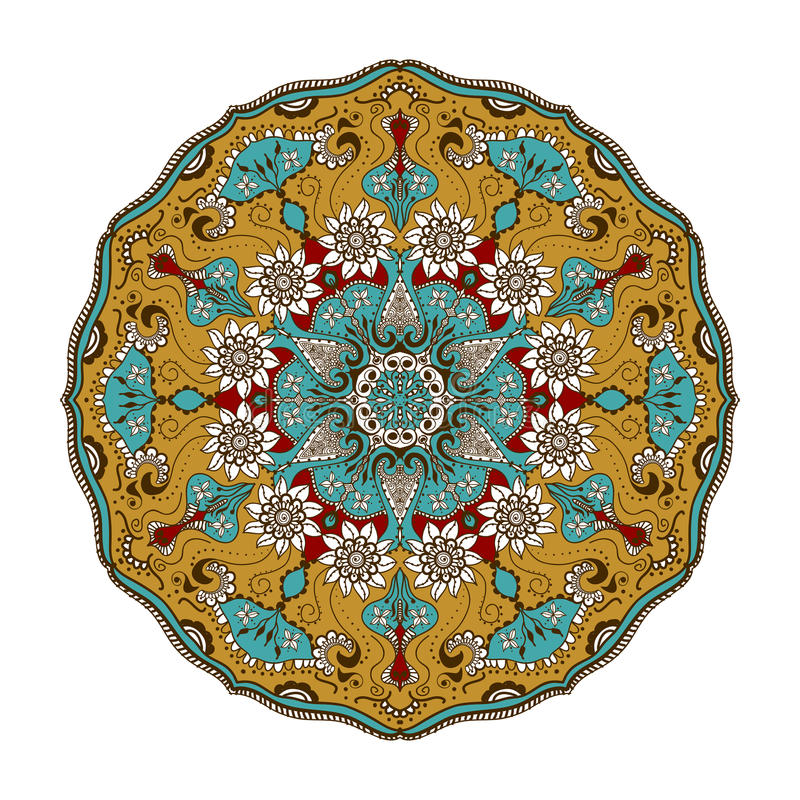 Blom- mandala för vektor i indisk stil Mehndi dekorativ blomma Hand dragen etnisk modell royaltyfri illustrationer