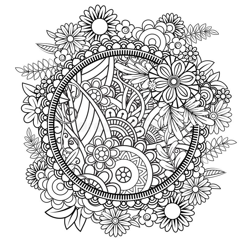 Blom- Mandala Pattern royaltyfri illustrationer