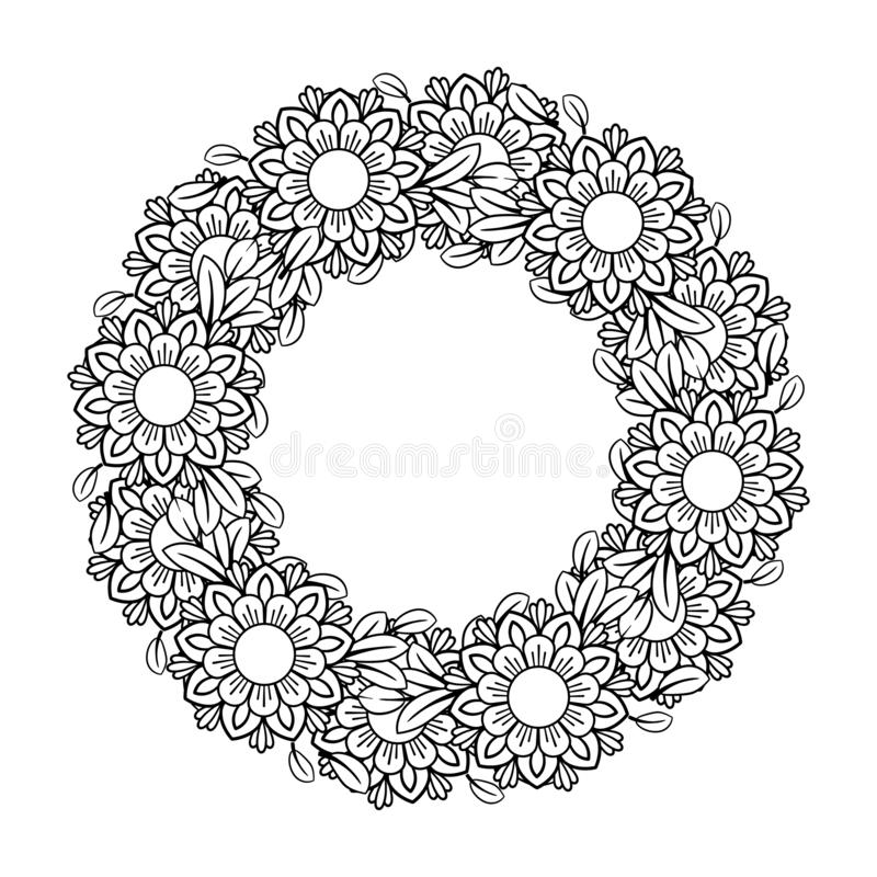 Blom- Mandala Pattern stock illustrationer