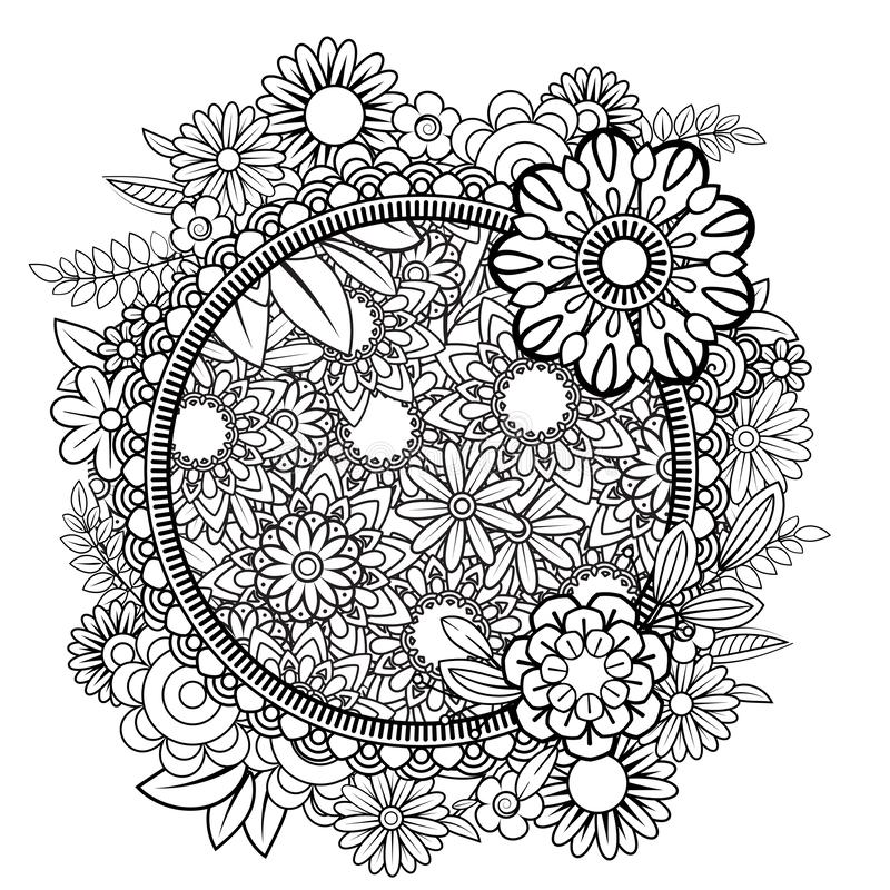 Blom- Mandala Pattern vektor illustrationer