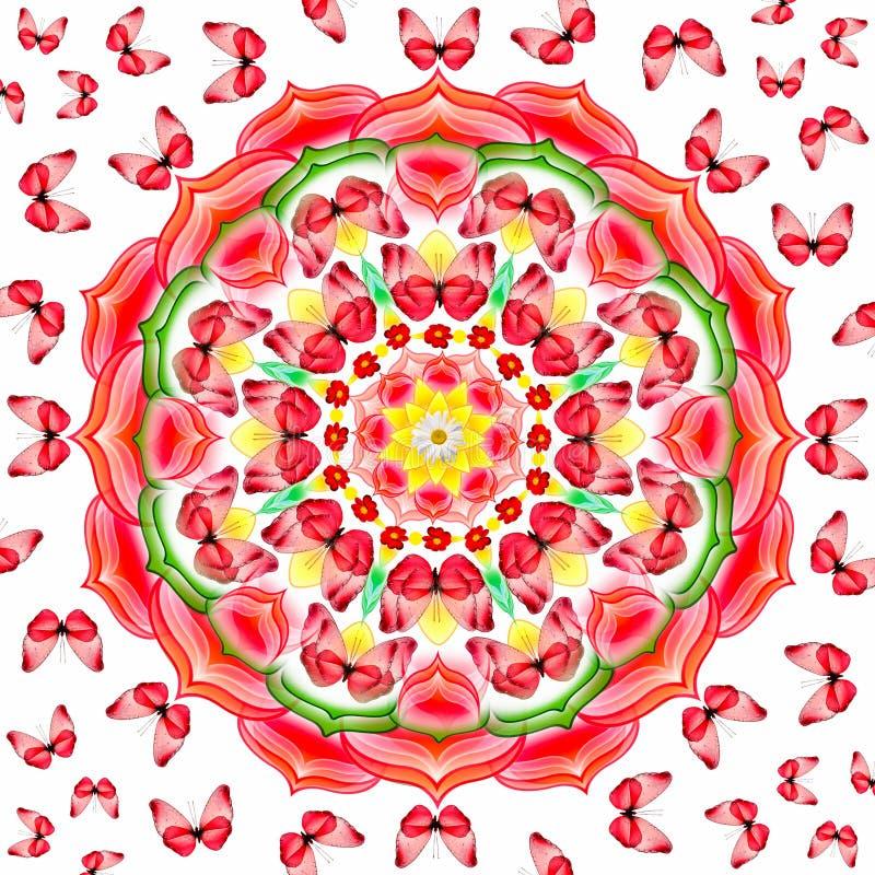 blom- mandalared för fjärilar stock illustrationer