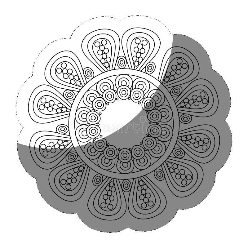 blom- mandalasymbol stock illustrationer