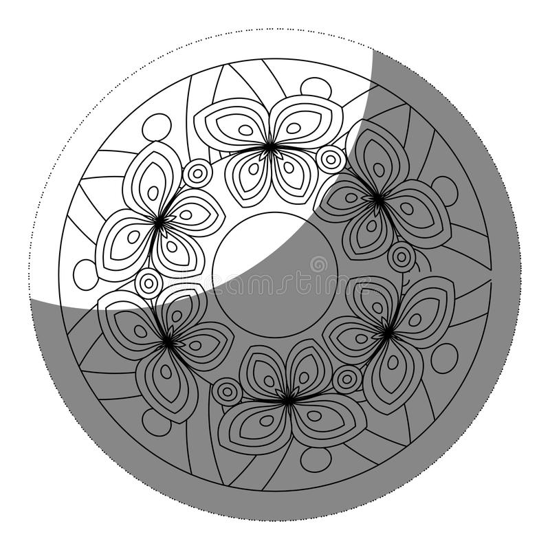 blom- mandalasymbol royaltyfri illustrationer