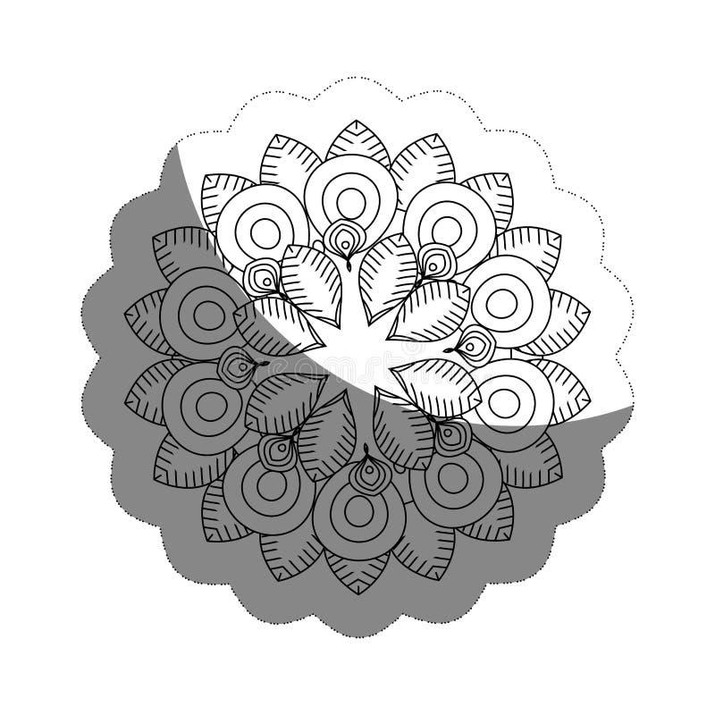 blom- mandalasymbol vektor illustrationer