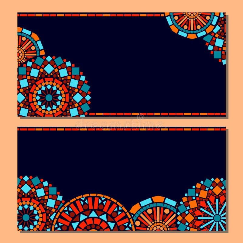 Blom- mandalauppsättning för färgrik cirkel av rambakgrund i blått och apelsinen, vektor stock illustrationer