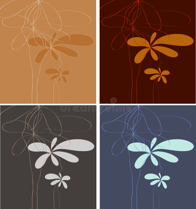 blom- minimalistic för konst stock illustrationer