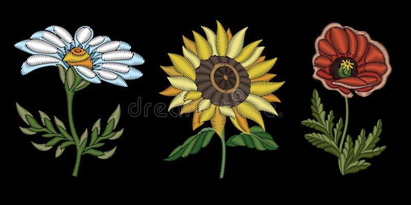Blom- modedesign för broderi royaltyfri illustrationer