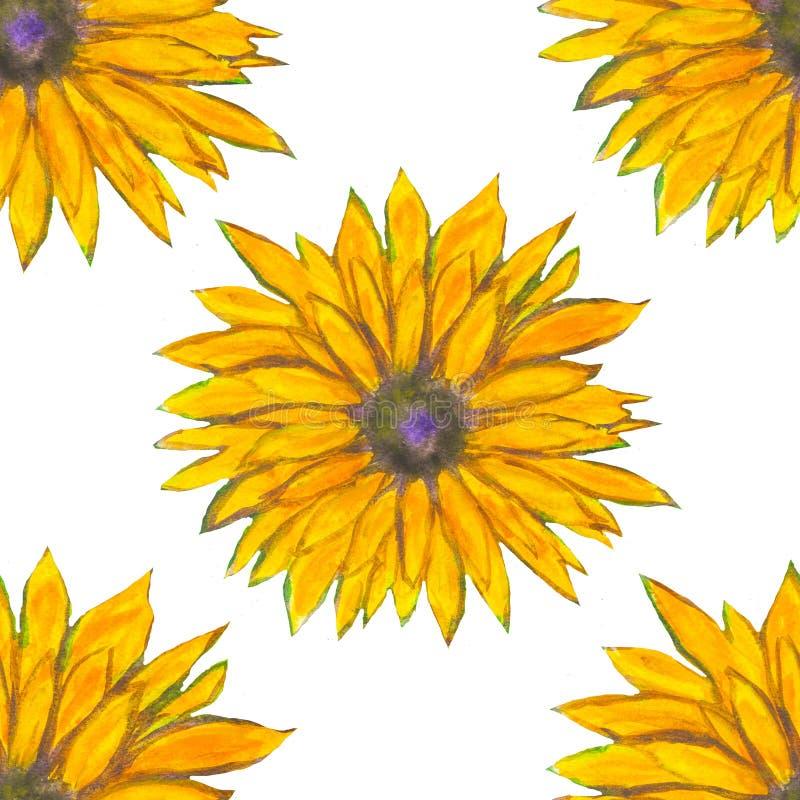 Blom- modell för akvarell med gula blommor Färgrikt tryck abstrakt bakgrund stock illustrationer