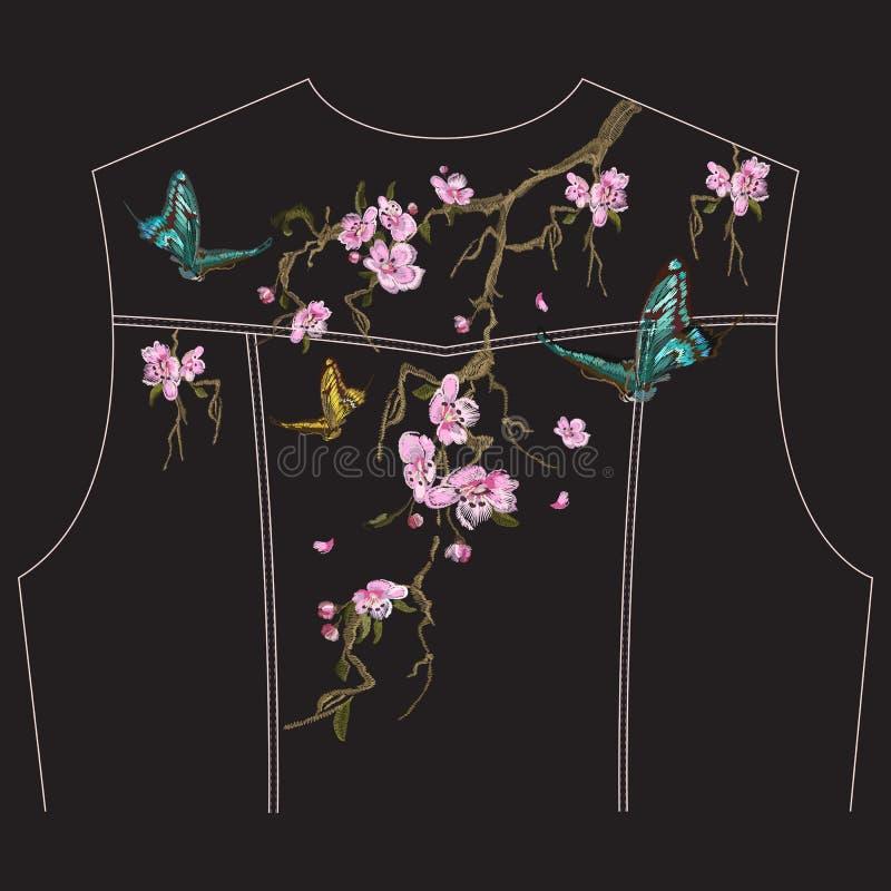 Blom- modell för broderi med den orientaliska körsbärsröda blomningen för jeans stock illustrationer