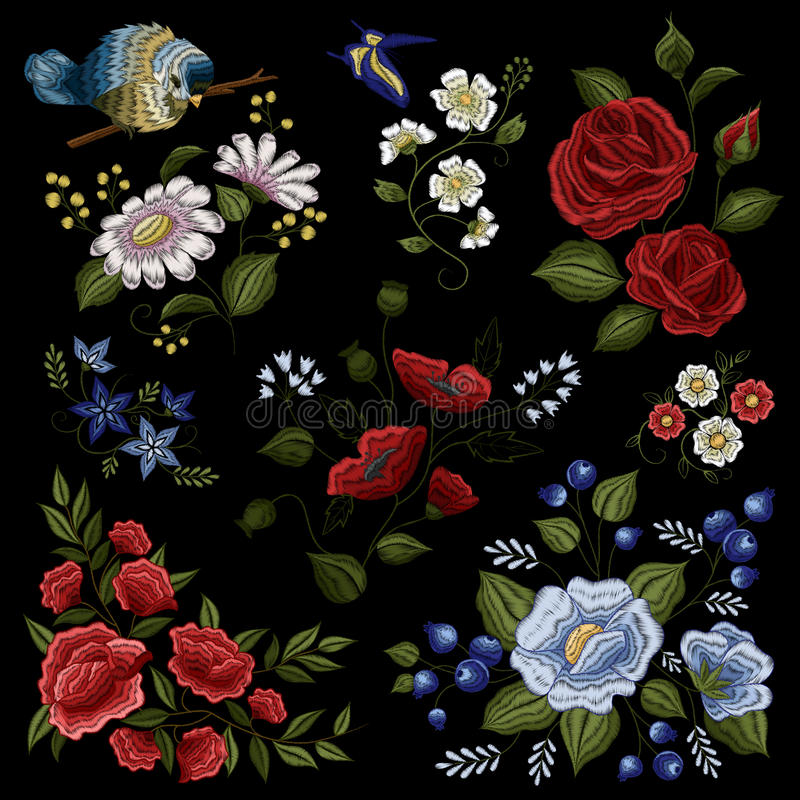Blom- modell för broderiFolkmode royaltyfri illustrationer