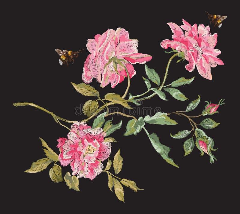 Blom- modell för broderimode med pioner och bin royaltyfri illustrationer