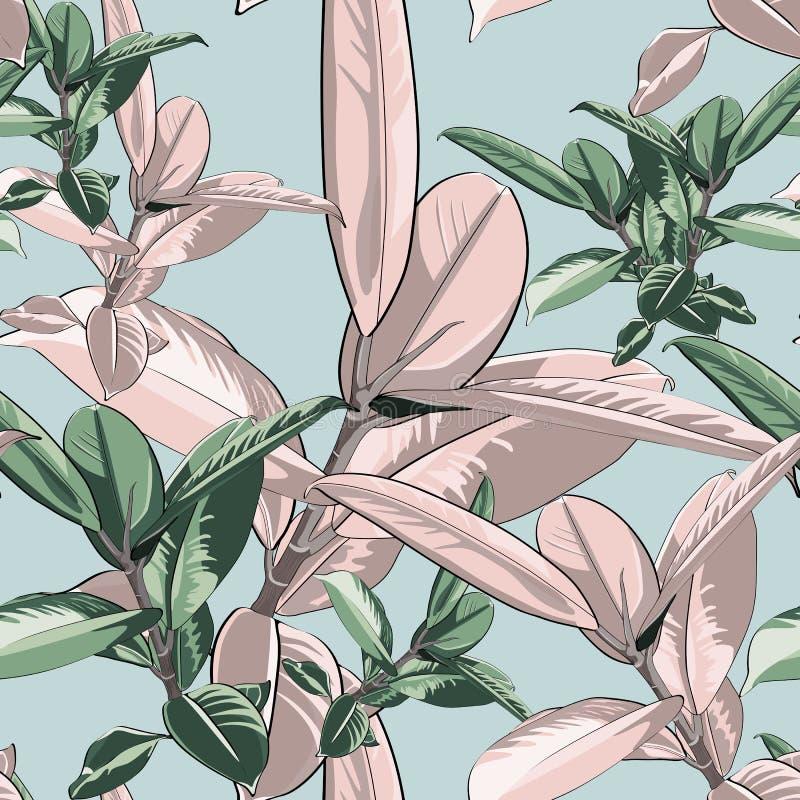Blom- modell för härlig sömlös vektor, vårsommarbakgrund med den tropiska fikus, djungelblad Exotisk botanisk tapet stock illustrationer