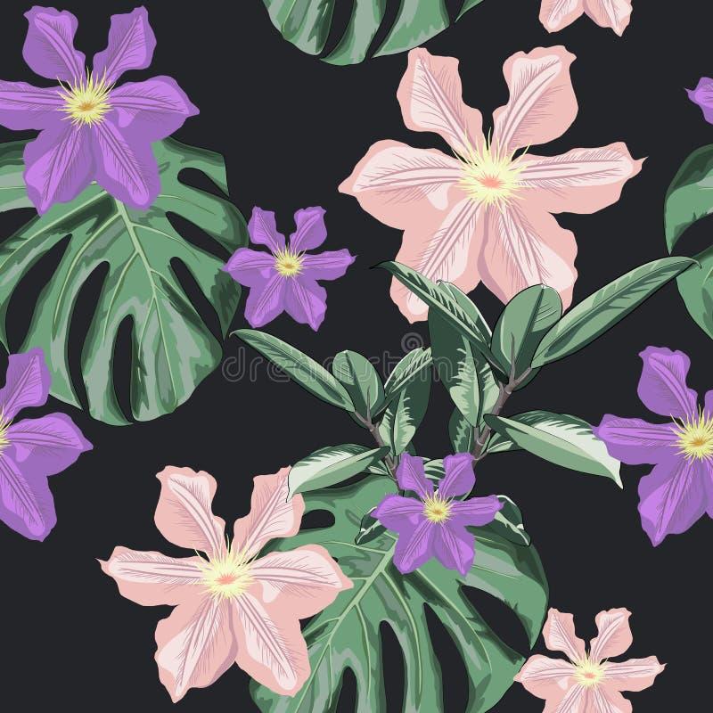 Blom- modell för härlig sömlös vektor, vårsommarbakgrund med tropiska blommor, palmblad, fikus Elastica, klematis stock illustrationer