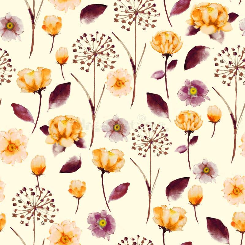 Blom- modell för sömlös ljus tappningvattenfärg, delikat flöde stock illustrationer