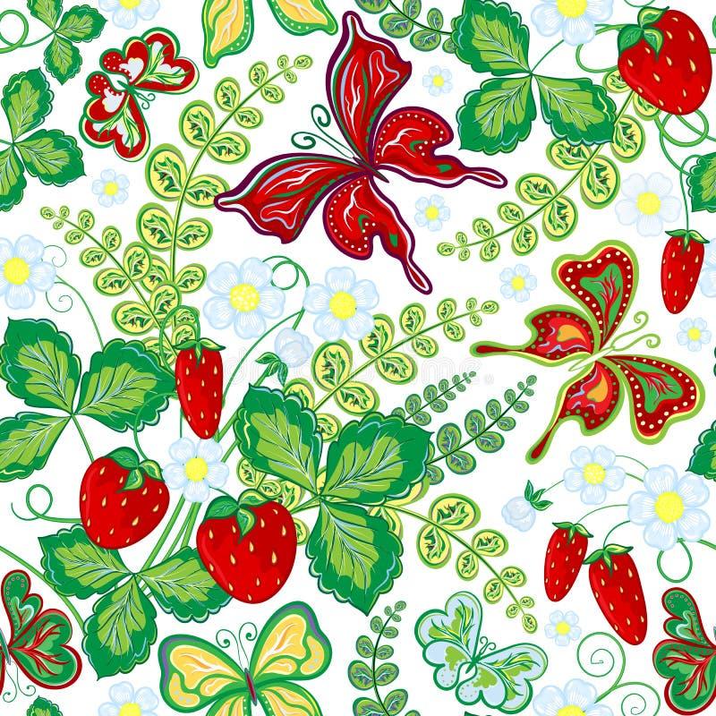 Blom- modell för sömlös vår med jordgubbar och blommor och fjärilar (vektorn EPS 10) stock illustrationer