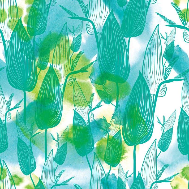 Blom- modell för sömlös vattenfärg vektor illustrationer