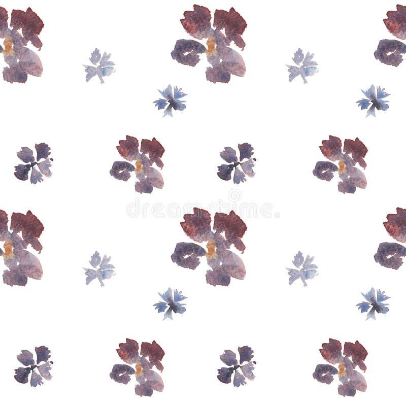 Blom- modell för sömlös vattenfärg för hand utdragen lös med blåa och purpurfärgade blommor royaltyfri illustrationer