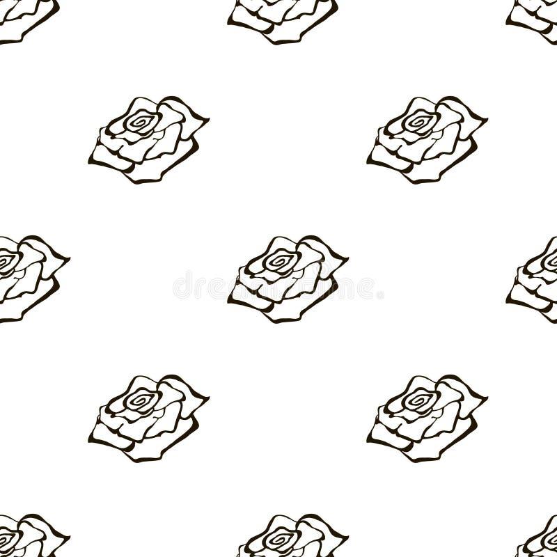 Blom- modell för sömlös vektor med blommor Handen dragen svartvit bakgrund med steg royaltyfri illustrationer