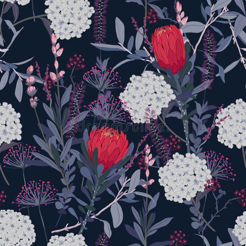 Blom- modell för stilfull tappning i många sort av blommor Tro stock illustrationer