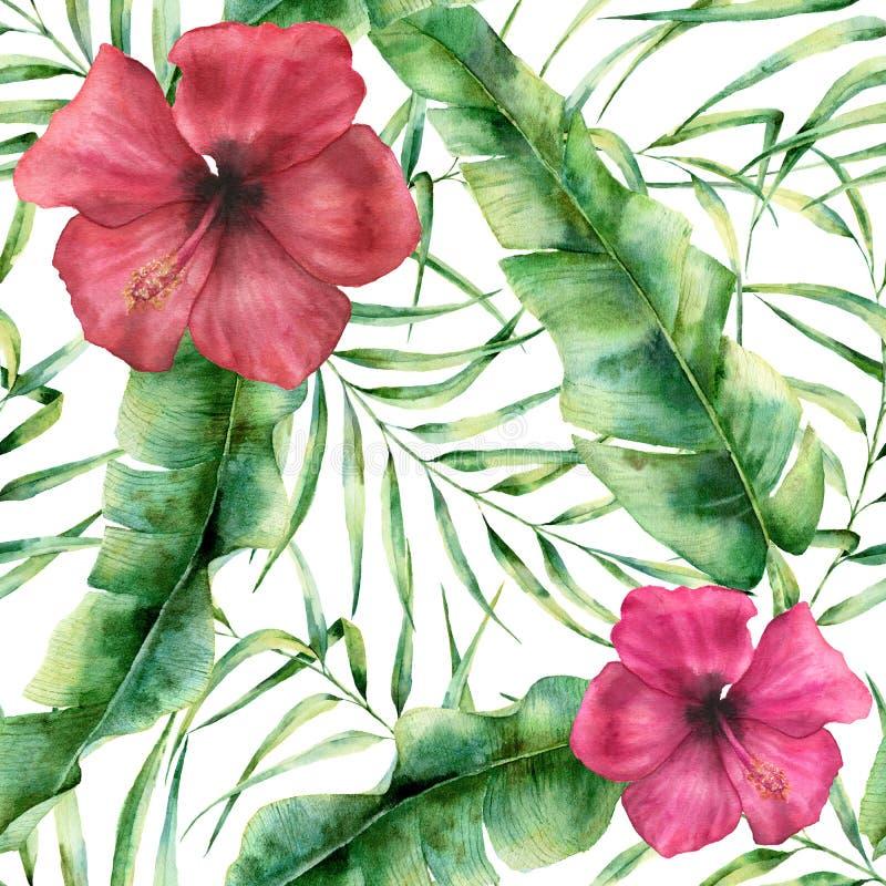 Blom- modell för vattenfärg med exotiska blommor och sidor Hand målad sömlös prydnad med den tropiska växten: hibiskus stock illustrationer
